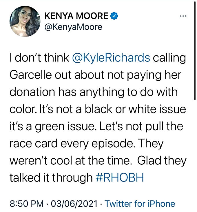 RHOA star Kenya Moore defends Kyle Richards