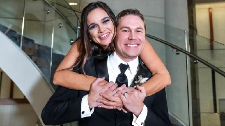 MAFS Virginia and Erik pose on their wedding day