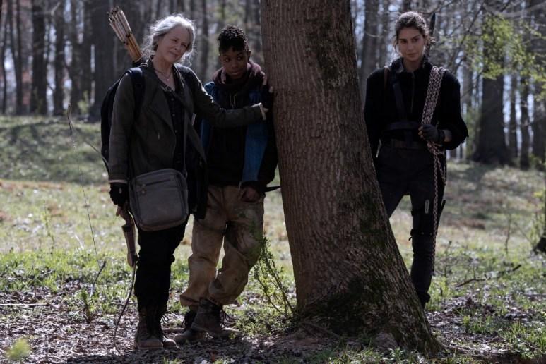 Melissa McBride as Carol Peletier, Angel Theory as Kelly, Nadia Hilker as Magna, as seen in Season 11 of AMC's The Walking Dead
