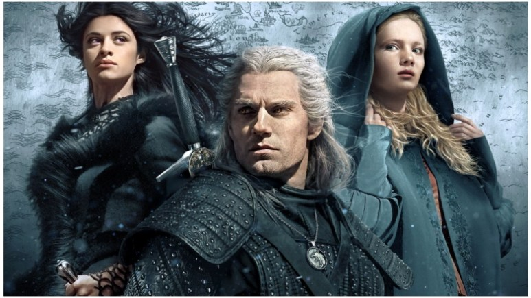 Anya Chalotra as Yennefer of Vengerberg, Henry Cavill as Geralt of Rivia and Freya Allan as Cirilla, as seen in Netflix's The Witcher