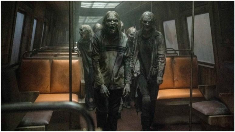 Walkers on a bus feature in Season 11 of AMC's The Walking Dead