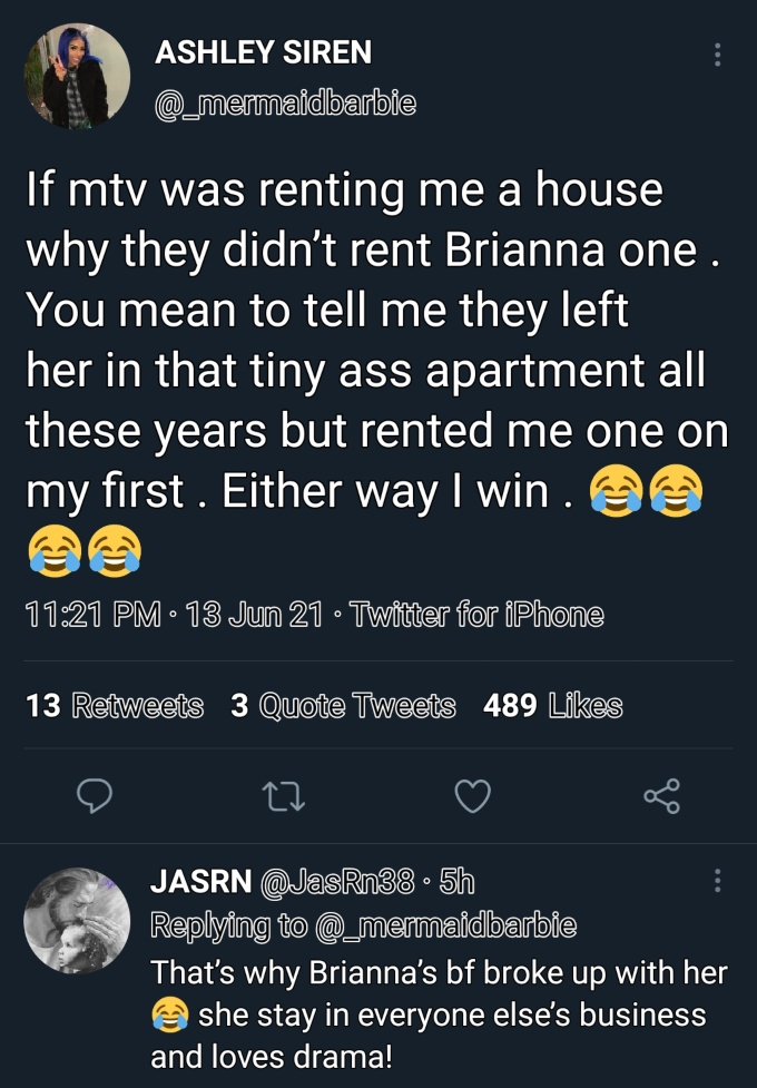 Ashley Jones of Teen Mom 2 on Twitter