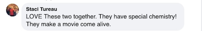A fan comments on Facebook about the chemistry between Hallmark stars Pascale Hutton and Kavan Smith.