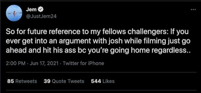the challenge all stars jemmye carroll tweets about josh martinez drama