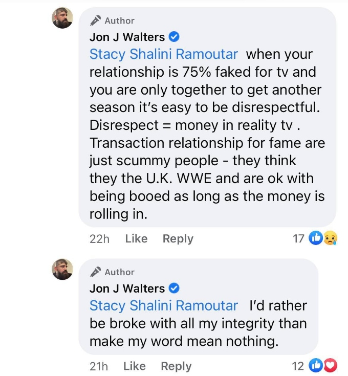 Jon Walters Facebook message