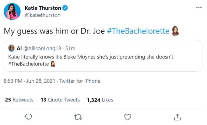 Katie Thurston replies to a fan on Twitter