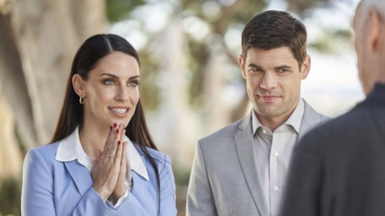 Jessica Lowndes and Jeremy Jordan star in Hallmark Channel's Mix Up in the Meditteranean.