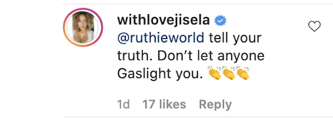 jisela delgado of the challenge all stars comments on ruthie alcaide reaction to ig post