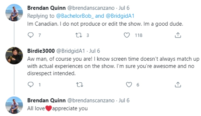 Brendan replies to a fan who didn't know who he was