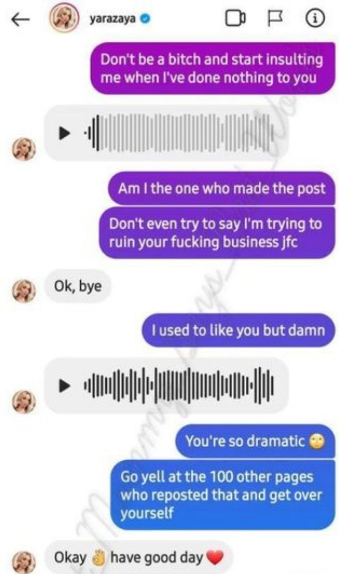 IG conversation between Yara and @that_mommy_says_bad_words