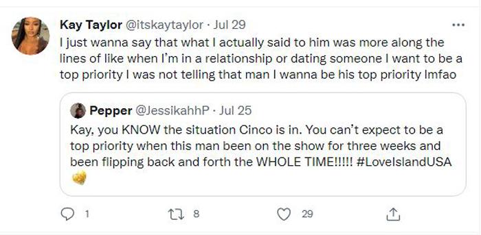 Kay Taylor tweet on Cinco