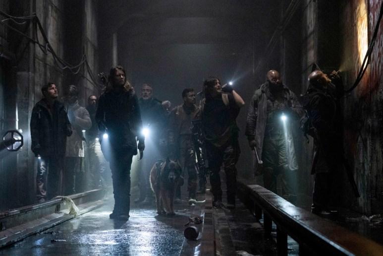 Jeffrey Dean Morgan as Negan, Norman Reedus as Daryl Dixon, and Seth Gilliam as Father Gabriel, as seen in Season 11 of AMC's The Walking Dead