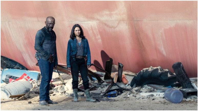 Lennie James as Morgan and Karen David as Grace, as seen in Episode 16 of AMC's Fear the Walking Dead Season 6