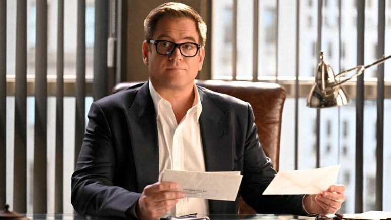 Michael Weatherly sitting at a desk in the show Bull