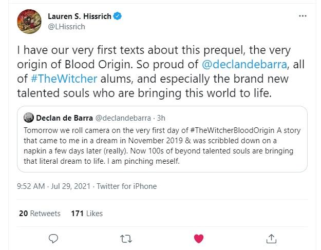 Tweets between Lauren S Hissrich and Declan de Barra regarding Netflix's The Witcher: Blood Origin