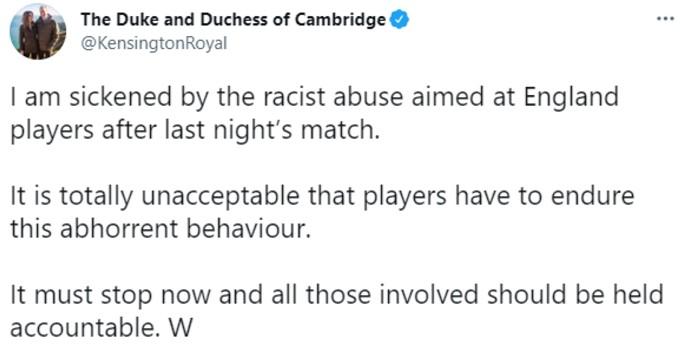 William tweets statement