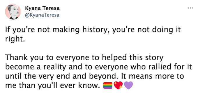 Actress Kyana Teresa shared a message during the series finale of Good Witch.