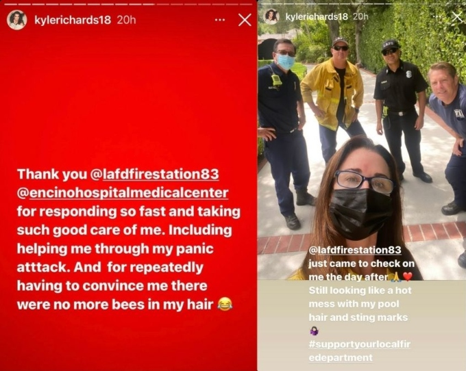 RHOBH star Kyle Richards thanks firefighters and medical facility for their help