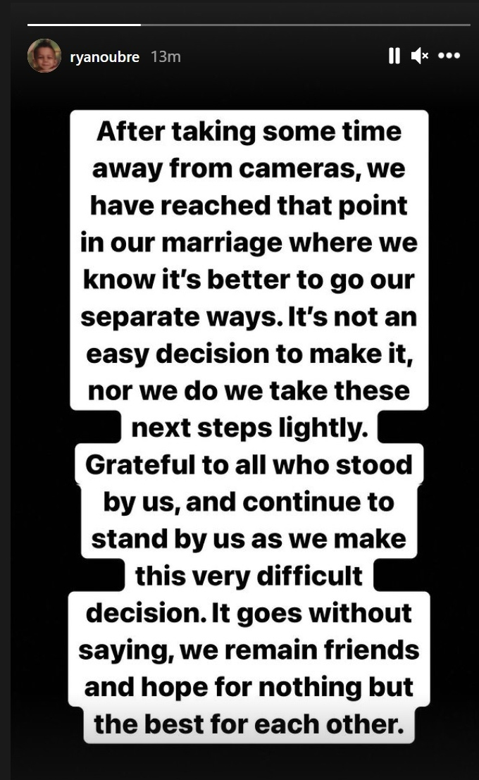 MAFS Ryan Oubre announces he and Clara will be divorcing