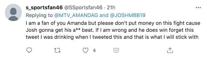fan reacts after amanda garcia supports challenge star josh martinez
