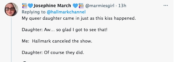 A fan message on Twitter following the finale of Hallmark Channel's Good Witch.