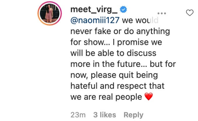 Virginia writes a comment about not being fake