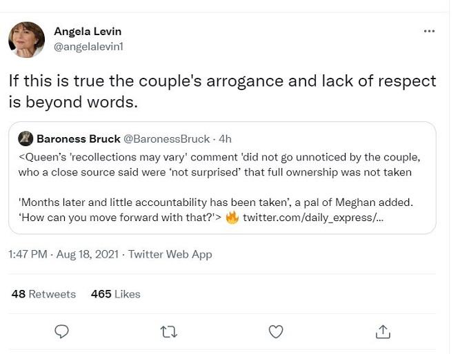 screenshot of Angela Levin's tweet.