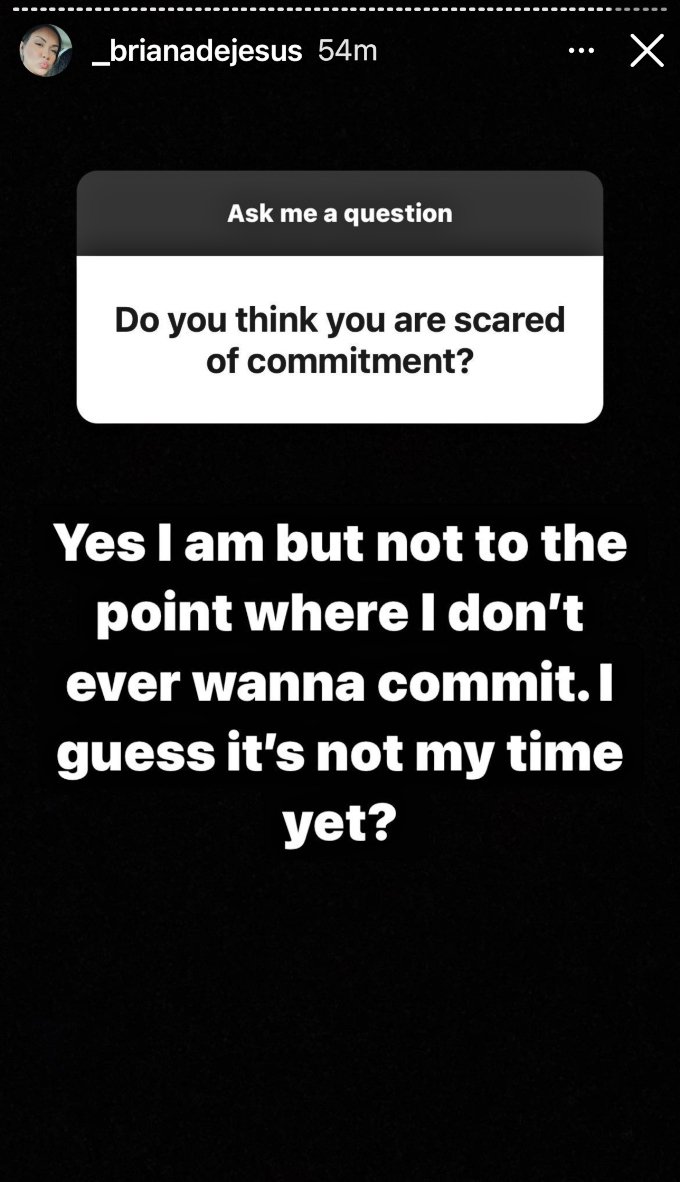 Briana DeJesus admits to fear of commitment