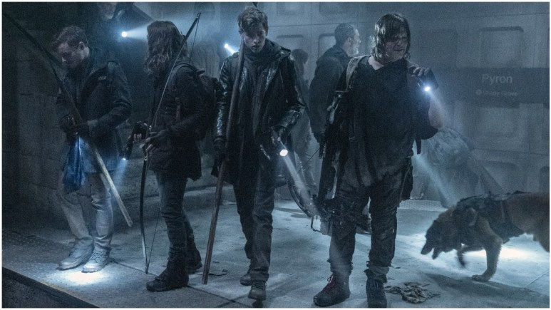 Callan McAuliffe as Alden, Lauren Cohan as Maggie, Jackson Pace as Gage, and Norman Reedus as Daryl, as seen in Episode 1 of AMC's The Walking Dead Season 11