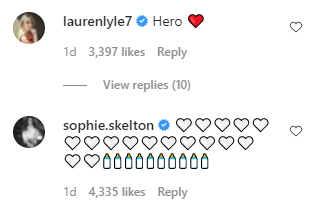 Screen Capture of Catriona Balfe's Instagram account, Lauren Lyle, Sophie Skelton comments