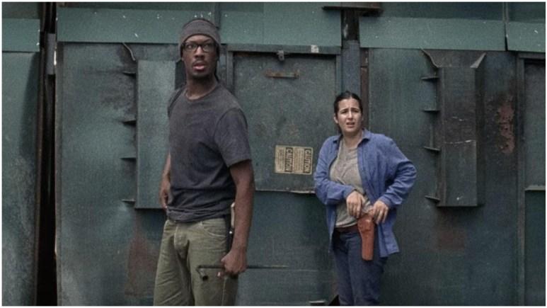 Corey Hawkins as Heath and Alanna Masterson as Tara, as seen in AMC's The Walking Dead