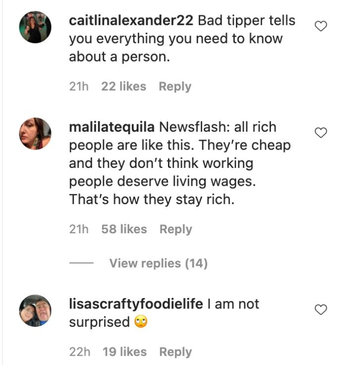 Screenshot of comments made regarding Erika Jayne's bad tipping habits.