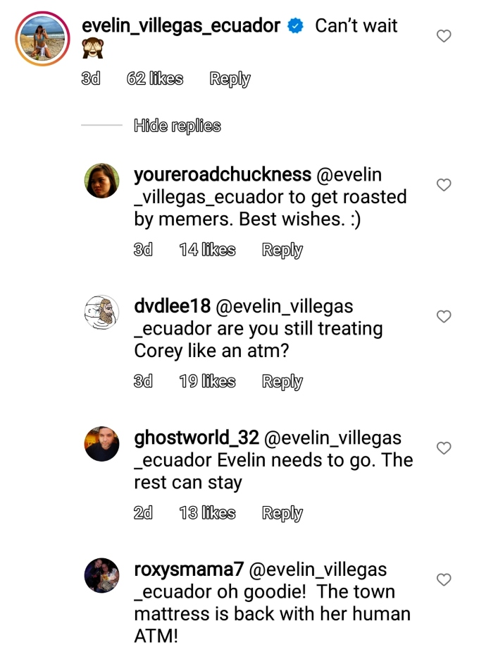 evelin villegas of 90 day fiance: the other way commented on instagram and fans reacted
