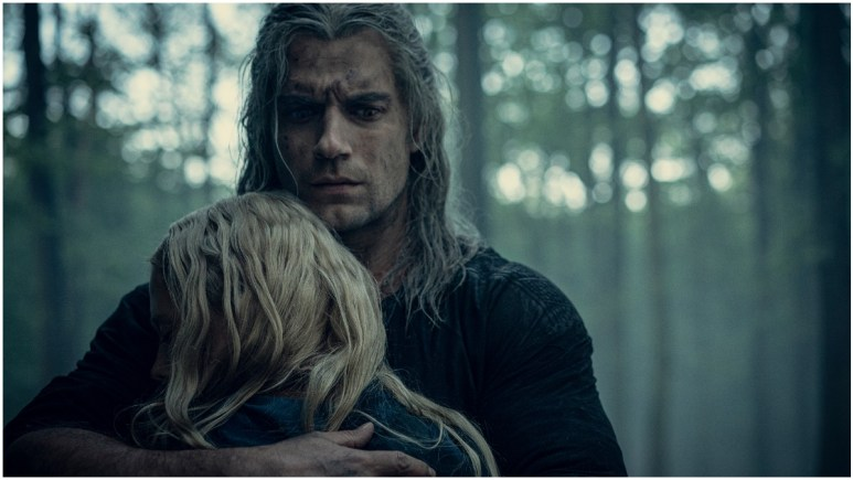 Freya Allan as Ciri and Henry Cavill as Geralt of Rivia, as seen in the Season 1 finale of Netflix's The Witcher