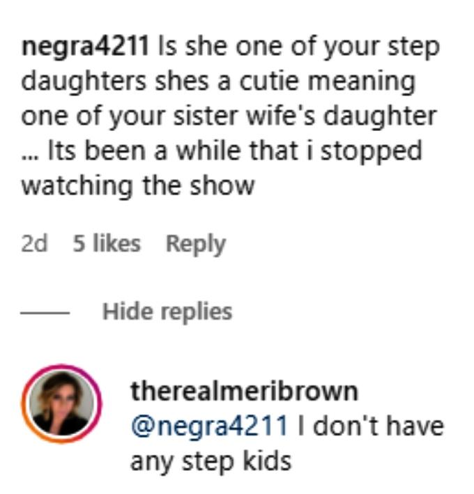 meri brown of sister wives posed with ariella on instagram