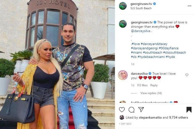 Georgi Rusev's IG post with Darcey Silva