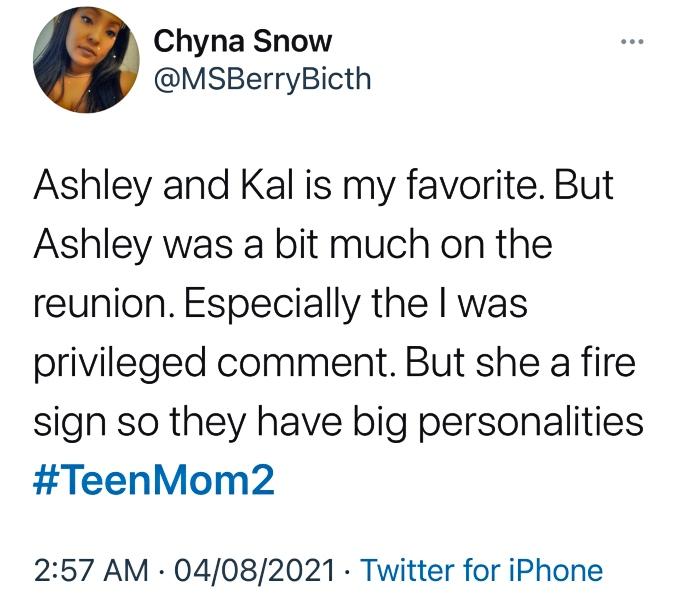 Twitter user talks about Ashley Jones