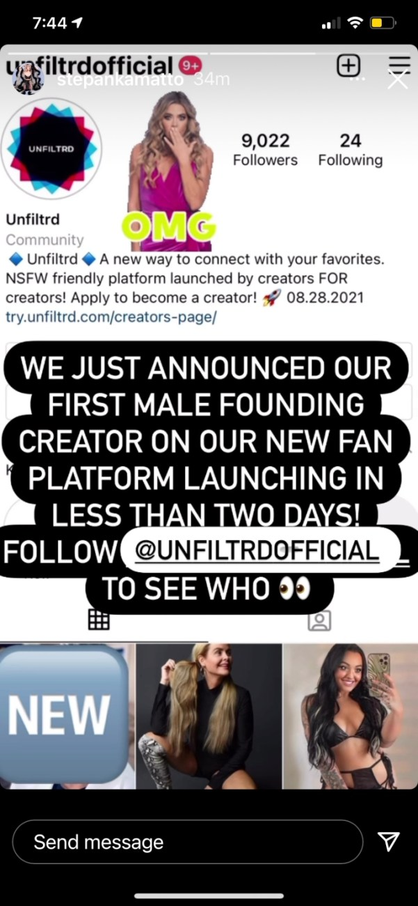 Stephanie Matto teases first male creator on her website