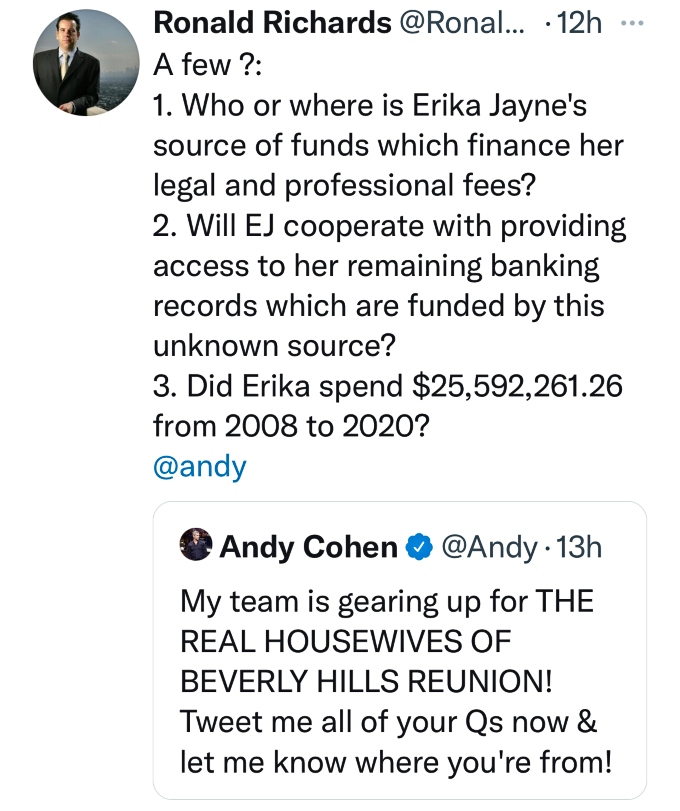 Attorney Ronald Richards has questions for Erika Jayne