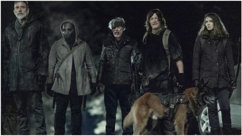 Jeffrey Dean Morgan as Negan, C. Thomas Howell as Roy, Norman Reedus as Daryl Dixon, and Lauren Cohan as Maggie Rhee, as seen in Episode 2 of AMC's The Walking Dead Season 11
