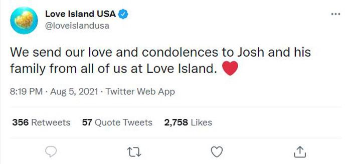 Love Island tweet