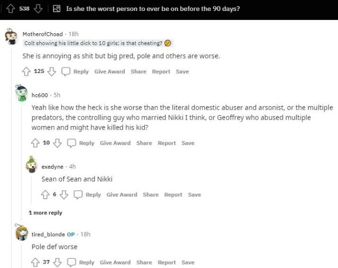 Reddit thread about 90 Day Fiance cast