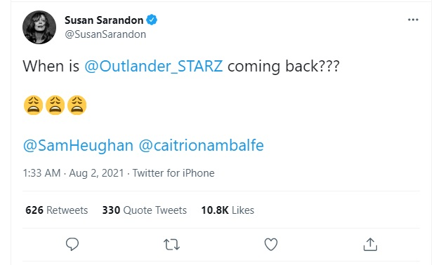 Susan Sarandon wants to know when Season 6 of Outlander will premiere