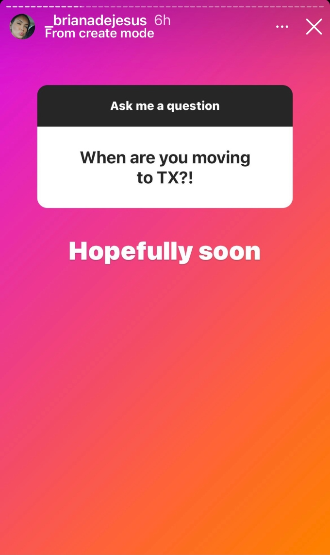Briana answers when she is moving.