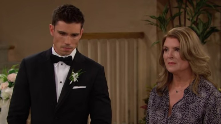 Tanner Novlan and Kimberlin Brown as Finn and Sheila on Bold and the Beautiful.