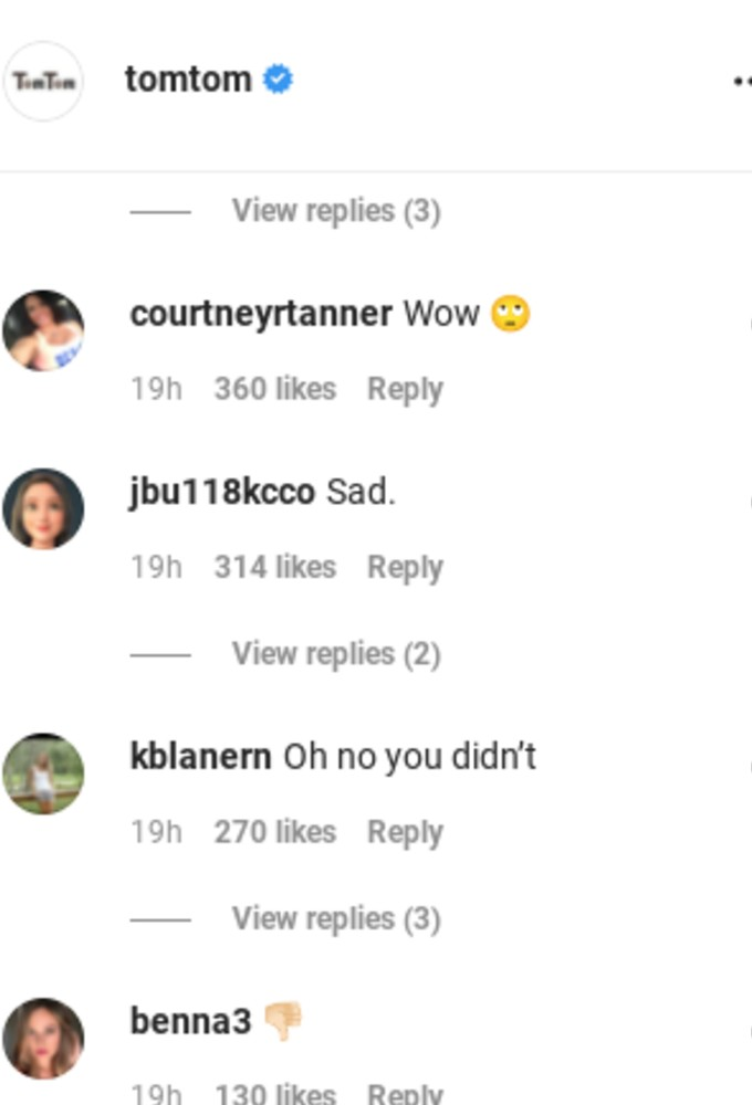 Comments from TomTom's followers.