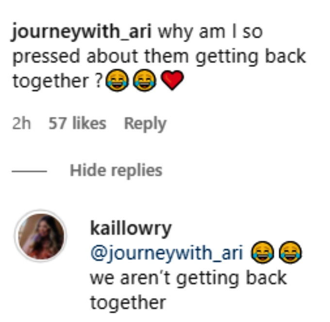 kail lowry responds to a fan comment on instagram that she isn't getting back with javi