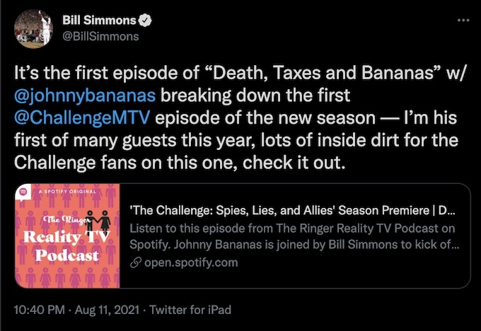 bill simmons tweets about the challenge podcast with bananas