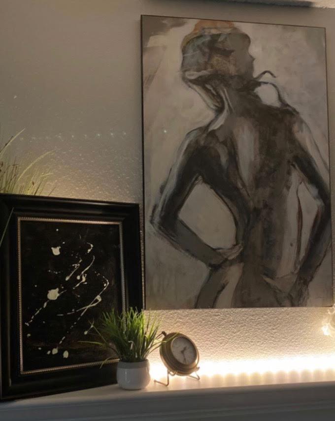 Blake's art piece on Katie's mantle