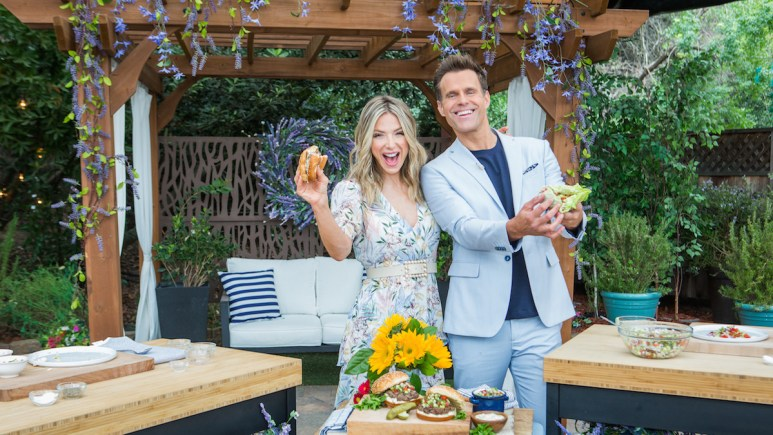 Debbie Matenopoulos and Cameron Mathison on the final episode of Hallmark Channel's Home and Family.